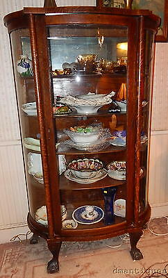 Antique ca1890 Victorian Oak Claw Foot China Curio Display Cabinet Curved Glass