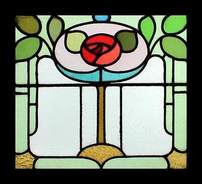 Stunning Mackintosh Rose Art Nouveau English Antique Stained Glass Window