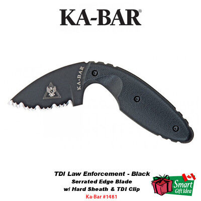 KA-BAR TDI Law Enforcement, Black, Serrated Edge, Hard Sheath TDI Clip #1481
