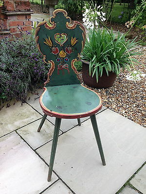 A pretty hand-decorated/painted antique chair, probably East European