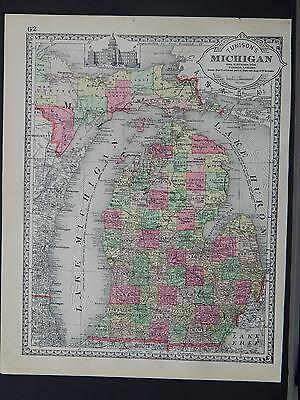 Antique Map, c. 1885 Tunisons State of Michigan Z1#76