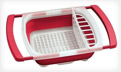 Collapsible Over the Sink Dish Drainer Folding Rack Storage Colander