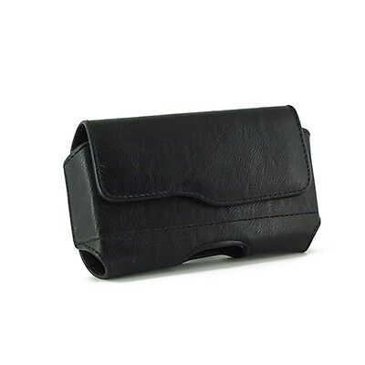 Black Horizontal Leather Case Pouch Holster For HTC HD2 HD-2 Firestone Leo