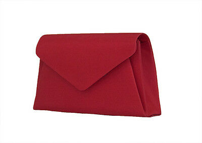NEW Red Ladies Satin Handbag Clutch Purse Wedding Bag Formal Evening Party #1580