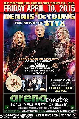 """DENNIS DeYOUNG """"MUSIC OF STYX TOUR"""" 2015 HOUSTON CONCERT POSTER - Chicago Rocks!"""