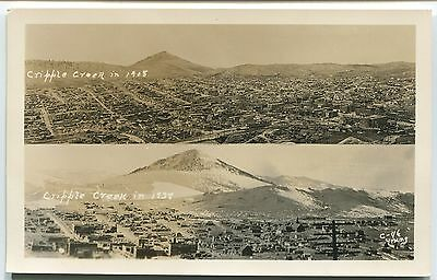 1938 CRIPPLE CREEK, CO PHOTO POSTCARD by YOUNG  1908 - 1938 Split View