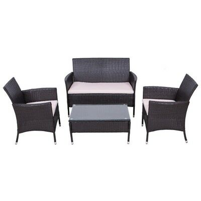 Palm Springs Outdoor 4 Piece Rattan Sofa Set w/ Chairs, Tables & Cushions
