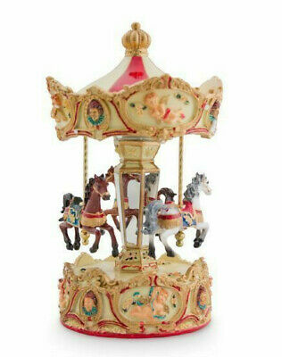 Child Baby  Girl Newborn Musical 3 Horse Carousel Christening Keepsake