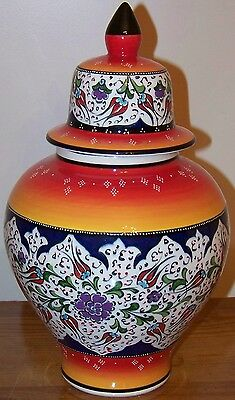 "Defective 12"" Handpainted & Handmade Turkish Ceramic Jar Urn CLEARANCE"