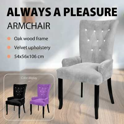 Purple/Black/Silver Dining Chair Velvet Coated Wing Back Armchair Wooden Modern