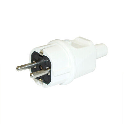 Schuko Solid Rubber Plug Kaiser 250v Plug 16a Solid Rubber Ip44 White