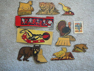 9- Vintage 1930s CEREAL BOX ANIMAL CUT-OUTS - FARM WILD & CIRCUS + HOPPY CARD