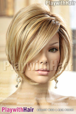 Sleek LACE FRONT Bob Wig HEAT FRIENDLY/OK Soft Blonde Regrowth Stacked!