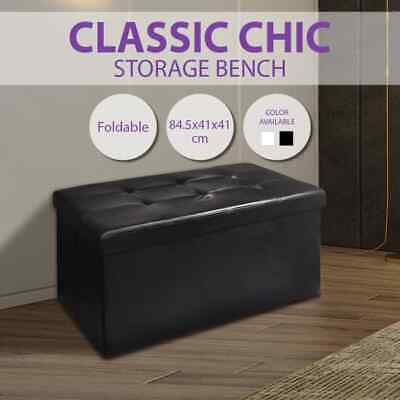 White/Black Storage Ottoman Bench Seat PU Leather Footrest Organizer Chair 85cm