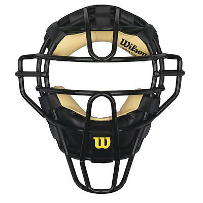 Wilson Adult Steel Umpire Mask w/Leather Pads - Black
