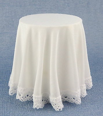 Melody Jane Dolls House Round Skirted Table with White Tablecloth 1:12 Furnitur