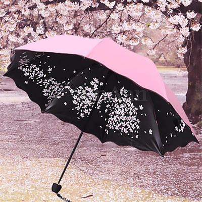 Anti UV Sun Rain Windproof Folding Umbrella Sakura Blossom Princess ParasolGift
