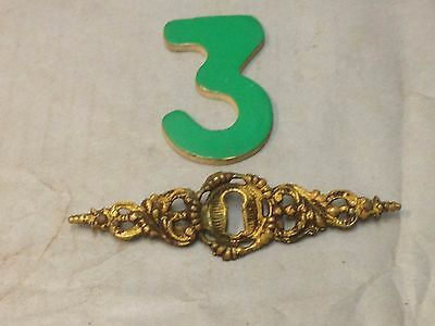 Antique Vintage Brass 4 3/4 Inch Ornate Key Hole Escutcheon Plate Part 3