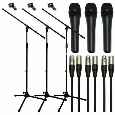 3 Pack Vocal Microphone Mic Stand and 5m XLR Mic Cable +Mic Clips DP Stage EM835