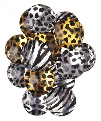 Simplicity Round Animal Print Plastic Gems Jewels  Multicoloured - per pack o...