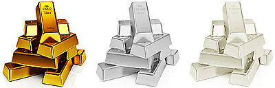 Pure Solid 24k Gold, .999/1000 Silver & Platinum Bullion Ingot Investment Bars