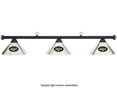 NFL New York Jets Chrome Shade & Black Bar Billiard Pool Table Light