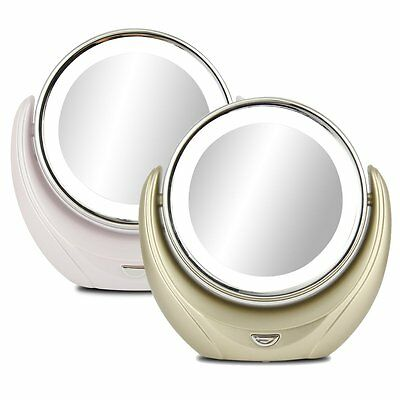 LED Lighted Double-Sided 1X/5X Magnifying Beauty Cosmetic Makeup Round Mirror