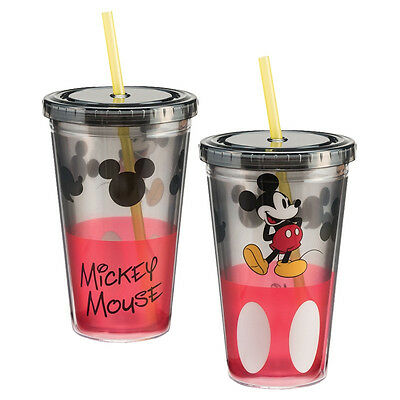 Walt Disney Classic Mickey Mouse Figure 18 oz Acrylic Travel Cup with Straw NEW