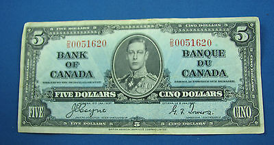 1937 $5 Bank of Canada Coyne Towers D/S 0051620 very nice bank note