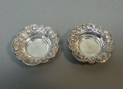 "Pair Antique Mauser Sterling Silver ""Strawberry"" Repousse Salt Cellars"