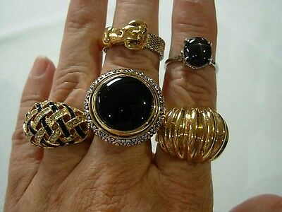 5 Gorgeous Glitzy Silver & Gold Tone Cocktail Rings ~ Nice Group! Take A Look!!