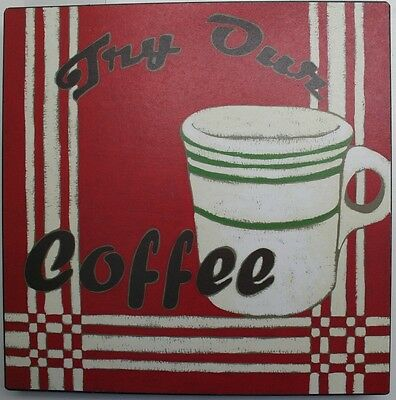 Iron Tin Metal Sign Home Kitchen Try Our Coffee vintage Antique Decor wall art