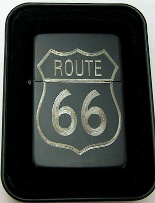 Route 66 Highway Engraved Black Cigarette Lighter Tin Case LEN-0168