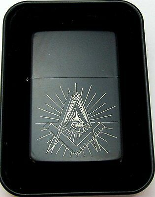 Mason Masonic Masons Engraved Black Cigarette Lighter Tin Case LEN-0170