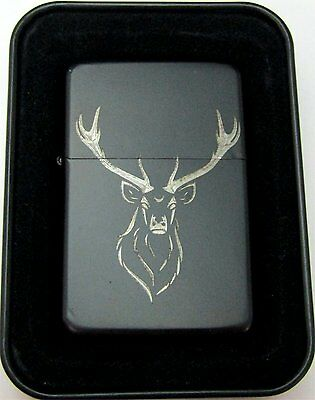 Elk Buck Deer Rack Engraved Black Cigarette Lighter Tin Case LEN-0163