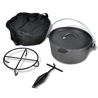 vidaXL 4.2/5.6/11.3L Dutch Oven Round Iron Camping Caravan Fireplace Storage Bag