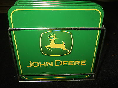 John Deere Logo Set of 4 Cork Back Coasters with Holder