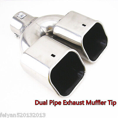 Universal Chrome Stainless Steel Car Rear Dual Exhaust Pipe Tail Muffler Tip New