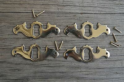 4 solid brass Georgian furniture escutcheon antique style keyhole plate SE1