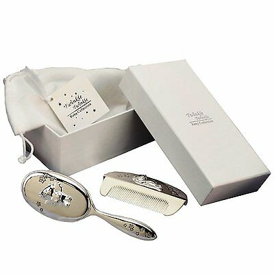 Twinkle Twinkle Silver Plated Brush & Comb Set Christening Gift Box Bag cg309c