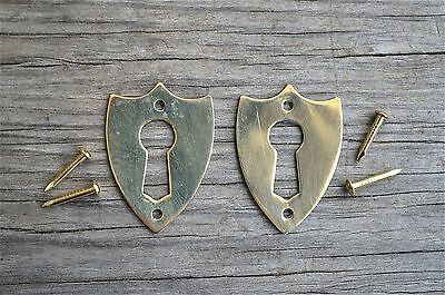 Pair brass Victorian shield furniture escutcheon antique box keyhole plate SE2
