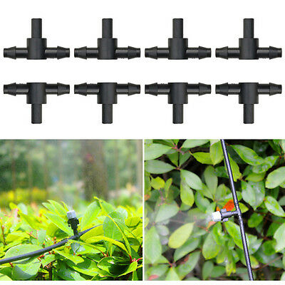 """50X 1/4"""" Sprayer Nozzle Tee Barbed Connector For 4/7mm Hose Garden Watering New"""