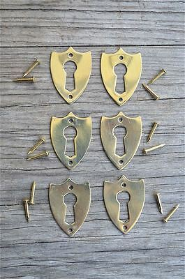 6 brass Victorian shield furniture escutcheon antique box keyhole plates SE2
