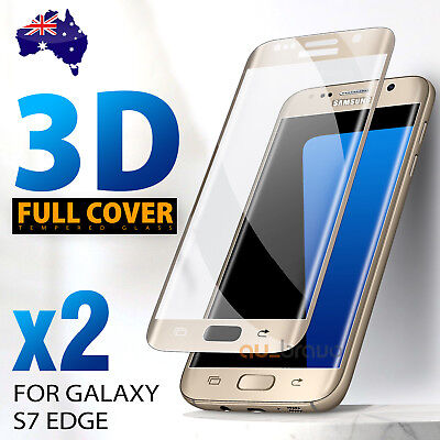 2 x For Samsung Galaxy S7 edge Full Coverage 9H Tempered Glass Screen Protector