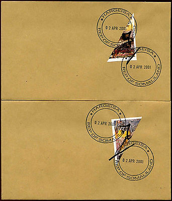 Somaliland 2001 Titanic Movie Set Of 2 Imperf Bisect Hand Surch Covers #C35342