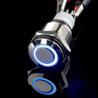 New 16mm Blue 24V LED Angel Eye Metal Latching on/off car Push Button Switch