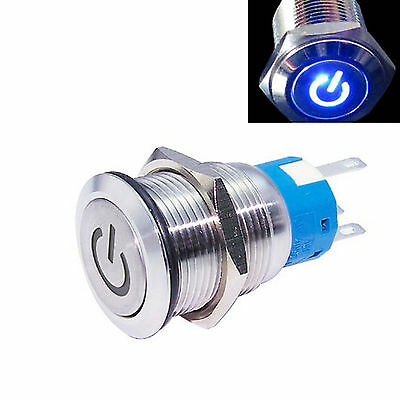 New 19mm Blue 12v LED Power symbol Metal Momentary on-off Push Button Switch