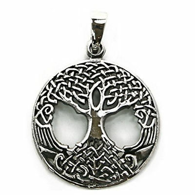 .925 Solid Sterling Silver Tree of Life Yggdrasill Pendant Pagan Charm P063