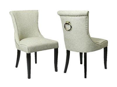 Canterbury Accent Natural Luxury Dining Chair Pair with Knockers