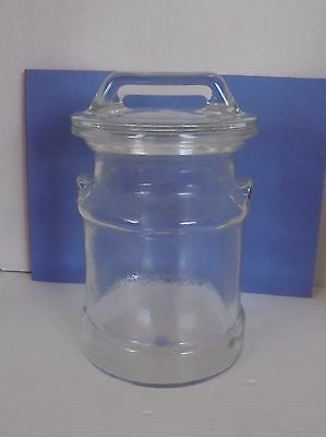 Vintage Milk Can Shaped Glass Canister Cookie Jar with Lid